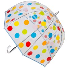 "London Fog Clear Bubble Stick Umbrella - 52"" in Multi Dots - Closeouts"