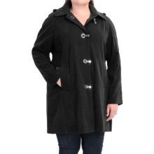 London Fog Clip Front Hooded Jacket (For Plus Size Women) in Black - Closeouts