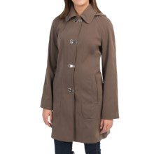 London Fog Clip Front Hooded Jacket (For Women) in Dark Truffle - Closeouts