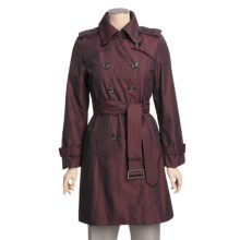 London Fog Double-Breasted Iridescent Trench Coat - Zip-Out Liner (For Women) in Red - Closeouts