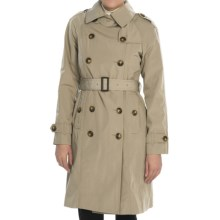 London Fog Double-Breasted Sateen Coat - Removable Liner (For Women) in Khaki - Closeouts