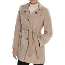 London Fog Double Collar Coat - Detachable Hood (For Plus Size Women) in Toffee - Closeouts