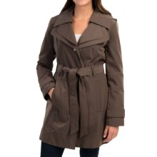 London Fog Double-Collar Trench Coat (For Women) in Dark Truffle - Closeouts