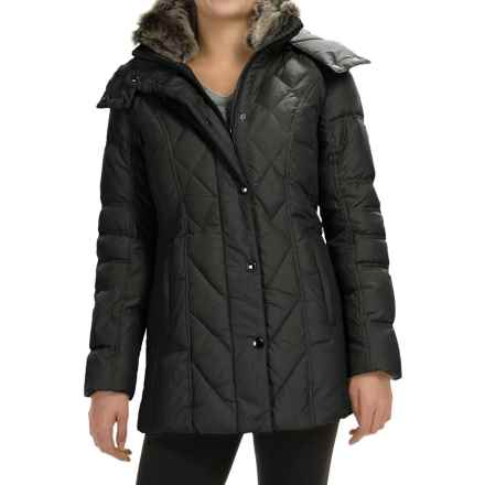 London Fog Down Quilted Puffer Coat - Removable Hood (For Women) in Black - Closeouts