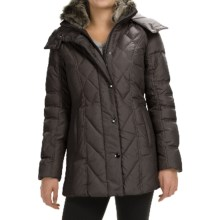 London Fog Down Quilted Puffer Coat - Removable Hood (For Women) in Brown - Closeouts