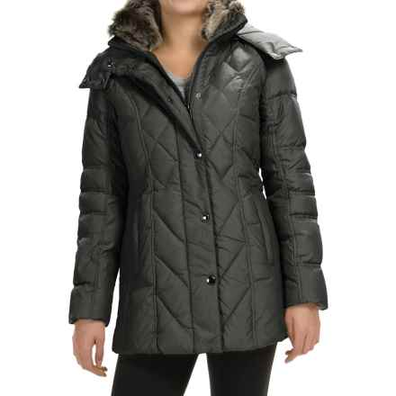 London Fog Down Quilted Puffer Coat - Removable Hood (For Women) in Gunmetal - Closeouts