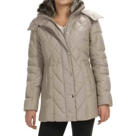London Fog Down Quilted Puffer Coat - Removable Hood (For Women) in Pearl - Closeouts
