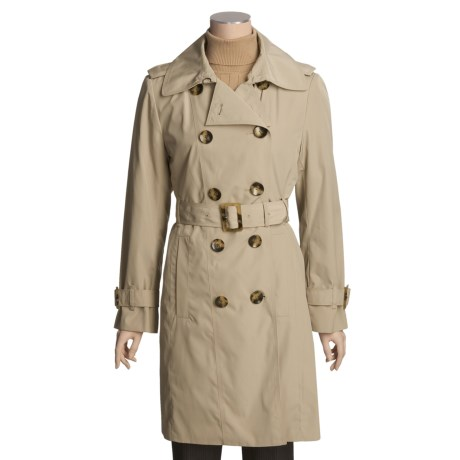 London Fog Faux-Silk Trench Coat - Zip-Out Liner (For Women) in Tan