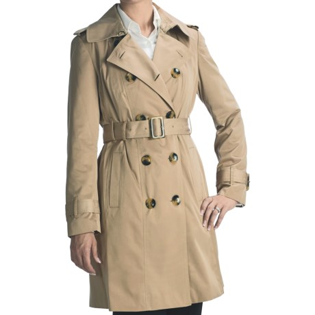 London Fog Faux Silk Trench Coat - Zip-Out Liner (For Women) in Tan