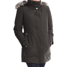 London Fog Fly Front Jacket - Faux-Fur Trim (For Women) in Black - Closeouts