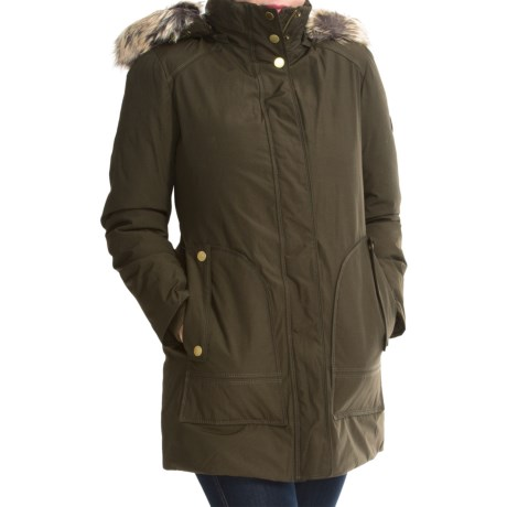 London Fog Fly Front Jacket Faux Fur Trim (For Women)