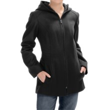 London Fog Full-Zip Car Coat - Wool Blend, Hooded (For Women) in Black - Closeouts