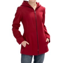 London Fog Full-Zip Car Coat - Wool Blend, Hooded (For Women) in Red - Closeouts