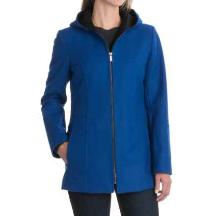 London Fog Hooded Coat - Wool Blend, Full Zip (For Women) in Cobalt - Closeouts