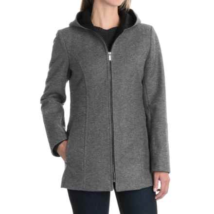 London Fog Hooded Coat - Wool Blend, Full Zip (For Women) in Medium Grey - Closeouts