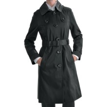 London Fog Hooded Faux Silk Trench Coat - Zip-Out Liner (For Plus Size Women) in Black - Closeouts