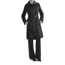 London Fog Hooded Faux Silk Trench Coat - Zip-Out Liner (For Women) in Black - Closeouts
