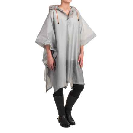 London Fog Hooded Rain Poncho - Waterproof in Grey - Closeouts