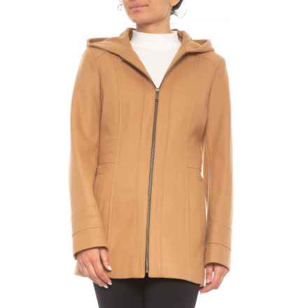 Hooded Wool Jacket (For Women) in Camel - Closeouts