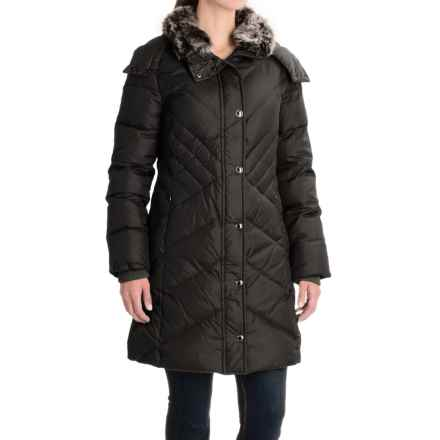 London Fog Long Hooded Down Quilted Jacket (For Women) in Black - Closeouts