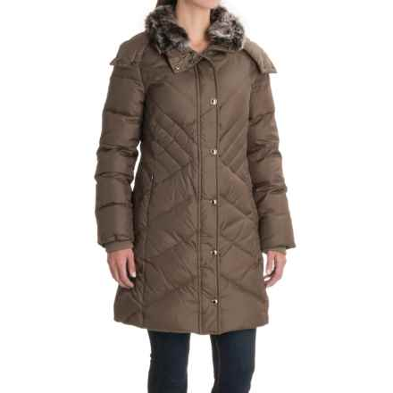 London Fog Long Hooded Down Quilted Jacket (For Women) in Tuscan - Closeouts