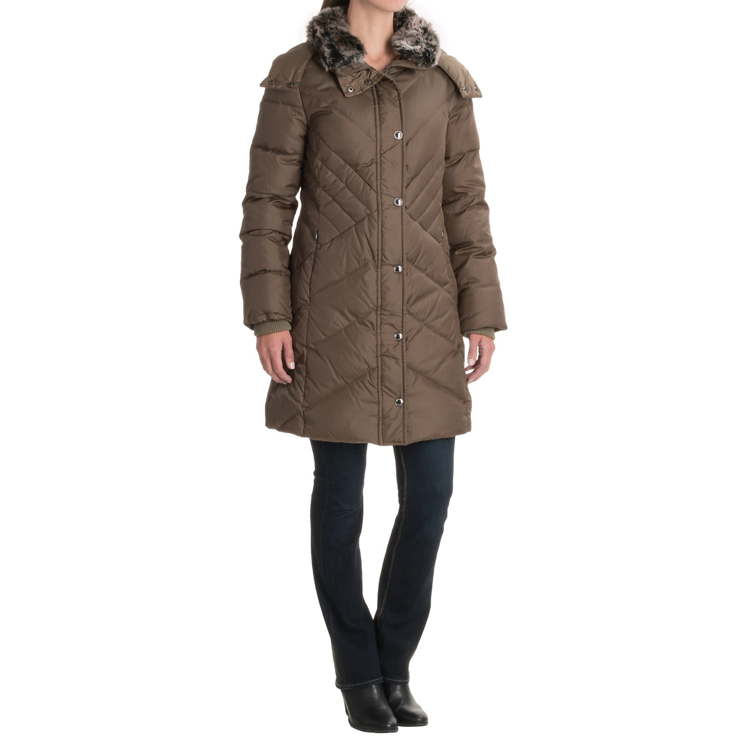 London Fog Long Hooded Down Quilted Jacket (For Women) - Save 50%