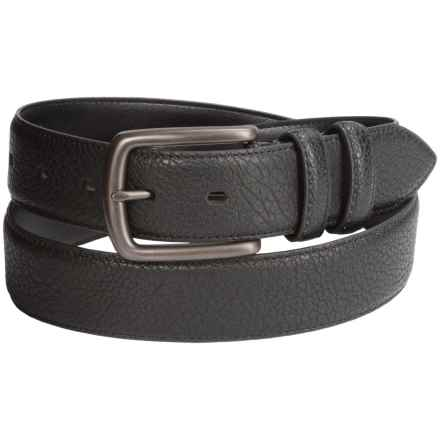 London Fog Pebble-Grain Leather Bridle Belt (For Men) in Black - Closeouts