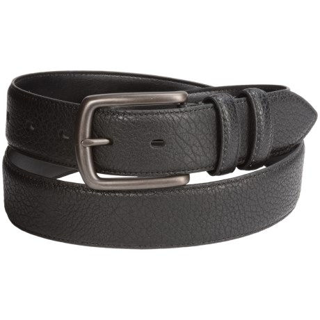 London Fog Pebble-Grain Leather Bridle Belt (For Men) in Black