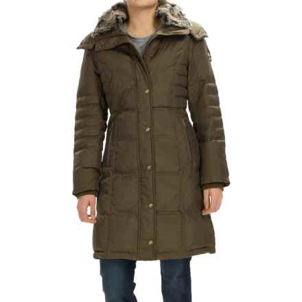 London Fog Puffer Walker Down Coat - Removable Hood (For Women) in Kale - Closeouts