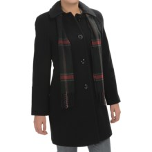 London Fog Raglan Button-Up Wool Coat with Plaid Scarf (For Women) in Black - Closeouts
