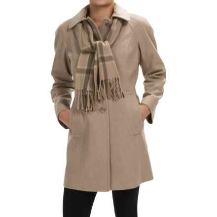 London Fog Raglan Button-Up Wool Coat with Plaid Scarf (For Women) in Oatmeal - Closeouts