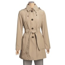 London Fog Satin-Finish Trench Coat - Hooded (For Women) in Toffee - Closeouts