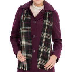 London Fog SB Faux-Silk Topper Coat - Scarf (For Women) in Plum