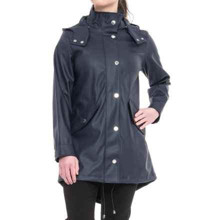 London Fog Slicker Rain Coat - Snap-Off Hood (For Women) in Navy - Closeouts