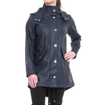 London Fog Slicker Rain Coat - Snap-Off Hood (For Women) in Navy - Closeouts