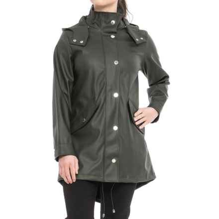 London Fog Slicker Rain Coat - Snap-Off Hood (For Women) in Olive - Closeouts