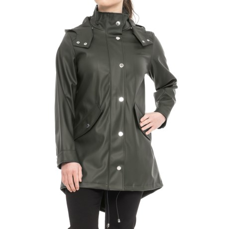 Image of London Fog Slicker Rain Coat - Snap-Off Hood (For Women)