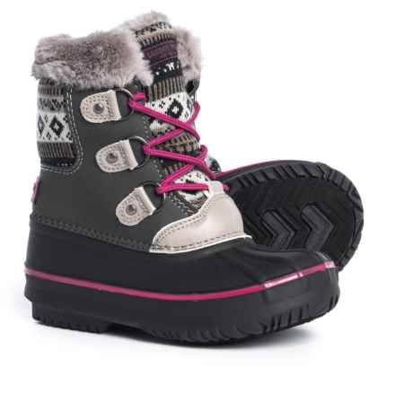 London Fog Tottenham Pac Boots (For Girls) in Grey/Pink - Closeouts