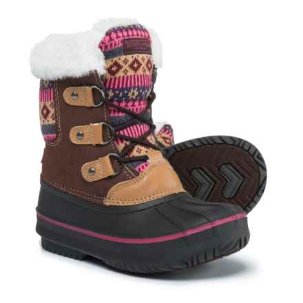London Fog Tottenham Snow Boots (For Girls) in Brown/Fuchsia - Closeouts