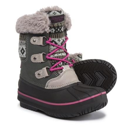 London Fog Tottenham Snow Boots (For Girls) in Grey/Pink