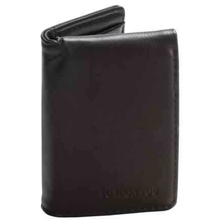 London Fog Trifold Wallet with Embossed Logo (For Men) in Black - Closeouts