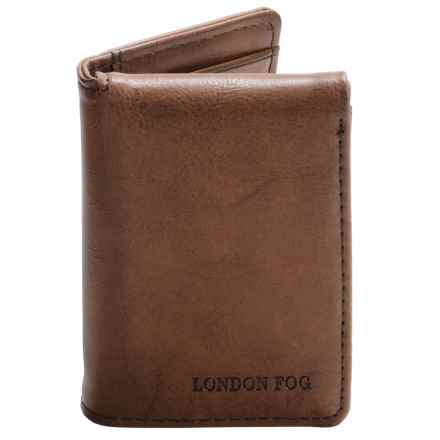 London Fog Trifold Wallet with Embossed Logo (For Men) in Brown - Closeouts
