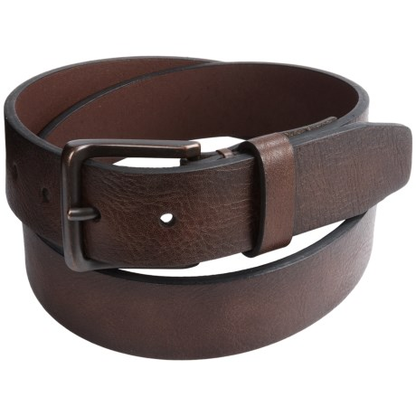 London Fog Tumbled Bridle Leather Belt (For Men) in Brown