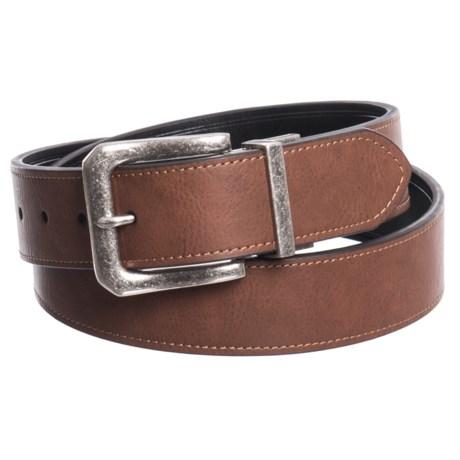 London Fog Twist Reversible Belt - Leather (For Men) in Brown/Black