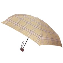 London Fog Ultra Mini Manual Umbrella - Wood Handle in Beige Plaid - Closeouts