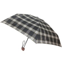 London Fog Ultra Mini Manual Umbrella - Wood Handle in Black Plaid - Closeouts