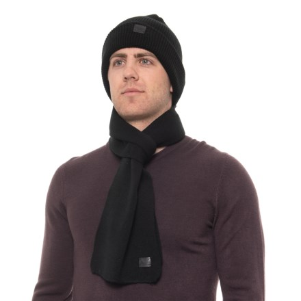 cefa61cf050 London Fog Waffle Knit Cuffed Beanie and Scarf Set (For Men) in Black -
