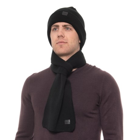 42d0f6c82b5 London Fog Waffle Knit Cuffed Beanie and Scarf Set (For Men) - Save 50%