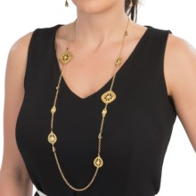 Long Necklace with Medallions in Matte Gold - 2nds