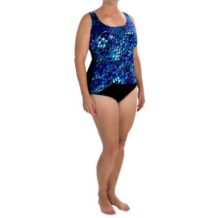 Longitude Beach Club X-Over Wrap One-Piece Swimsuit (For Plus Size Women) in Blue - Closeouts
